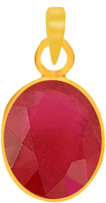 PTM Natural Certified Ruby (Manik) Gemstone 10.25 Ratti or 9.29 Carat for Male Panchdhatu 22K Gold Plated Alloy Pendant