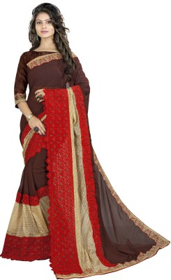 Sanku Fashion Embroidered, Self Design, Solid Fashion Georgette, Net, Velvet Saree(Brown, Red)