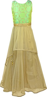 K&U Embellished Girl's Anarkali Kurta(Green, Gold)