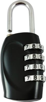 DOCOSS 4 Digit Travel Brass Locks Small Bag Luggage Resettable Password Padlock Combination Lock Black