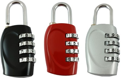 DOCOSS Set Of 3 -4 Digit Travel Brass Locks Small Bag Luggage Resettable Password Padlock Combination Lock(Multicolor)  available at flipkart for Rs.698