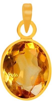 PTM Natural Certified Citrine (Sunehla) Gemstone 10.25 Ratti or 9.25 Carat for Male Panchdhatu 22K Gold Plated Alloy Pendant