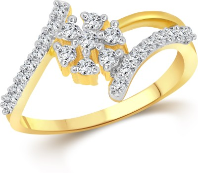 Vighnaharta Couple Heart Alloy Cubic Zirconia 18K Yellow Gold Plated Ring
