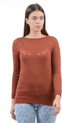 Pepe Jeans Solid Boat Neck Casual Women Grey Sweater