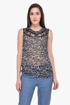 Mayra Party Sleeveless Printed Women Black Top