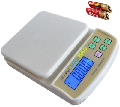 Billionbag Fine Quality ABS SF 400A 5Kg With Battery with Diff. Weighting Units Digital Multi-Purpose Kitchen Weighing Scale(White)  available at flipkart for Rs.519