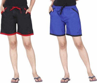 Only Solid Women Blue Basic Shorts