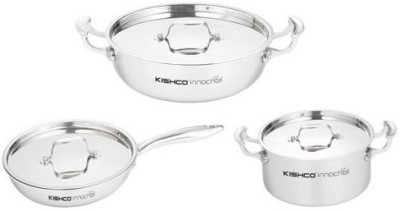Kishco Induction Bottom Cookware Set(Stainless Steel, 3 - Piece) at flipkart
