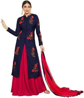 Rahi Fashion Cotton Embroidered, Self Design Semi-stitched Salwar Suit Dupatta Material