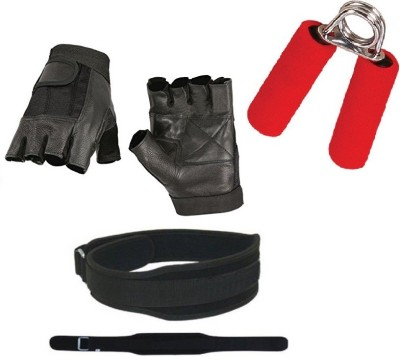 konex POWER COMBO OF 1 WEIGHT LIFTING GYM BELT (L) SIZE, 1 PAIR LEATHER GYM GLOVES, 1 PC FOAM HAND GRIP FOR FITNESS. Gym & Fitness Kit