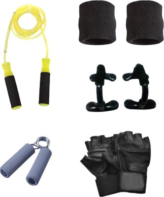 sportssolutions COMBO OF 1 FOAM HAND GRIP + SKIPPING ROPE + GYM GLOVES + PUSH UP BAR + HAND BAND. Gym & Fitness Kit