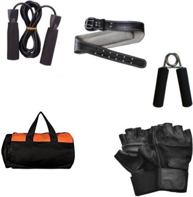 KONEX COMBO OF 1 GYM BAG + 1 FOAM HAND GRIP + SKIPPING ROPE + GYM GLOVES + WEIGHT LIFTING BELT FOR GYM AND HOME FITNESS. Gym & Fitness Kit