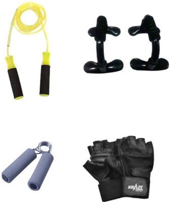 sportssolutions BEST QUALITY COMBO OF 1 FOAM HAND GRIP + SKIPPING ROPE + GYM GLOVES + PUSH UP BAR FOR GYM AND HOME FITNESS. Gym & Fitness Kit