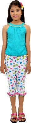 RIBBON N FRILL Girls Casual Top Capri(Multicolor)