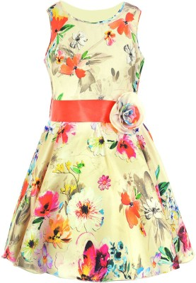 Naughty Ninos Girls Midi/Knee Length Party Dress(Multicolor, Sleeveless)