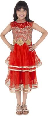 Addyvero Girls Midi/Knee Length Party Dress(Red, Sleeveless)
