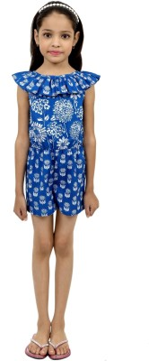RIBBON N FRILL Romper For Girls Casual Printed Cotton(Blue, Pack of 1)