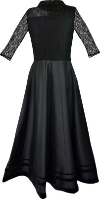 K&U Self Design Girl's Anarkali Kurta(Black)