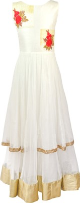 K&U Embroidered Girl's Anarkali Kurta(White)