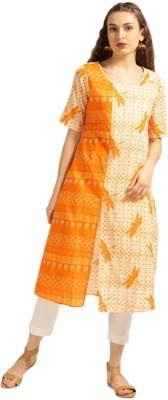 Anouk Women Printed Straight Kurta(Orange, Yellow) at flipkart
