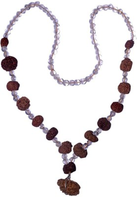 Navkaar Creation Rudraksha Siddha Mala (1-16 Mukhi) Indonesian (Java) Small 12-14mm Spatik Mala Silk Dori Necklace at flipkart