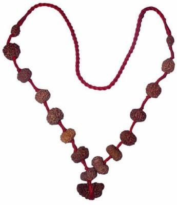 Navkaar Creation Rudraksha Siddha Mala (1-14 Mukhi) Indonesian (Java) Small 12-14mm Thread Silk Dori Necklace at flipkart