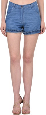 Mayra Solid Women Denim Blue Denim Shorts at flipkart