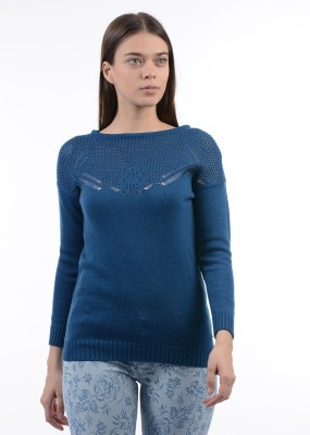 Pepe Jeans Solid Boat Neck Casual Women Maroon Sweater