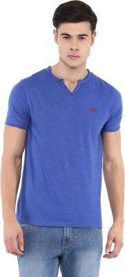 Elaborado Solid Men's Henley Blue T-Shirt at flipkart
