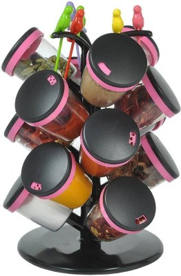 Divine 15 Pices Revoling Spice Rack With 6 Fruit Forks Pink IPL Sale 21 Piece Condiment Set(Plastic) at flipkart