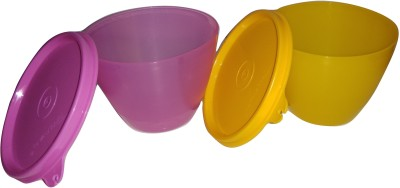 Tupperware Bowled Over Set  Yellow, Light Pink    450 ml Plastic Grocery Container Pack of 2, Multicolor Tupperware Kitchen Containers