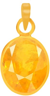 PTM Natural Certified Yellow Sapphire (Pukhraj) Gemstone 10.25 Ratti or 9.23 Carat for Male Panchdhatu 22K Gold Plated Alloy Pendant