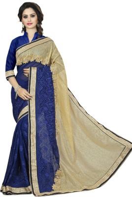 Sanku Fashion Embroidered, Self Design, Solid Fashion Georgette, Net, Velvet Saree(Dark Blue)