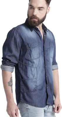 Roadster Men's Solid Casual Blue Shirt at flipkart