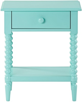 WOOD CREATION Solid Wood End Table(Finish Color - Green)