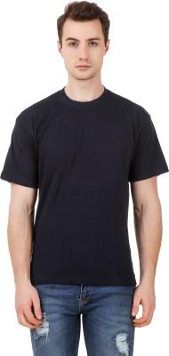 99 Affair Solid Men Round Neck Dark Blue T Shirt