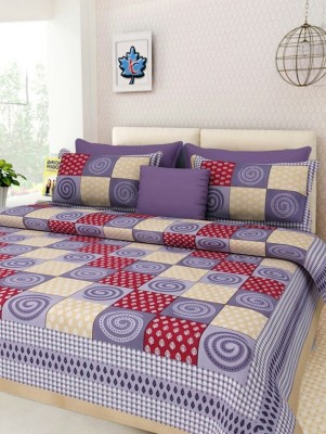 Cotton hendicluse Cotton Printed Double Bedsheet(1 double Bedsheet with 2 pillow cover, Multicolor) at flipkart