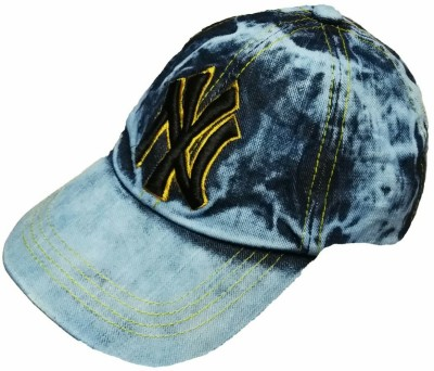 Friendskart Self Design Blue Denim Baseball Cap Front Side Printed Ny For Boys ANd Girls Cap