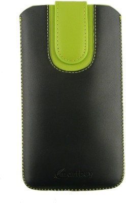 Emartbuy Pouch for Intex Aqua Speed HD(Black/Green Plain, Artificial Leather)