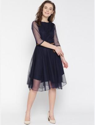 U&F Women's Fit and Flare Dark Blue Dress