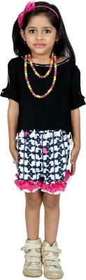 RIBBON N FRILL Girls Casual Top Shorts(Black)