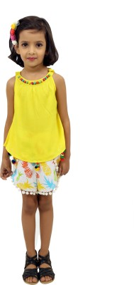 RIBBON N FRILL Girls Casual Top Shorts(Multicolor)