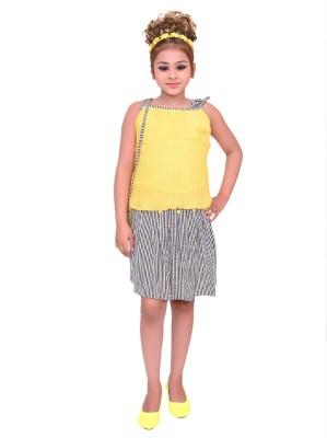 Gungun Pari Girls Festive & Party Top and Skirt Set(Multicolor Pack of 1)