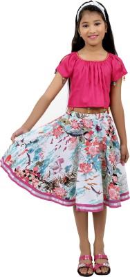 RIBBON N FRILL Girls Casual Top Skirt(Multicolor)