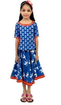 RIBBON N FRILL Girls Casual Top Skirt(Blue)