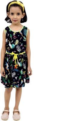 RIBBON N FRILL Girls Midi/Knee Length Casual Dress(Black, Sleeveless)