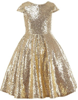 da97415362 15% OFF on Fairy Dolls Girls Midi/Knee Length Party Dress(Gold, Cap Sleeve)  on Flipkart | PaisaWapas.com