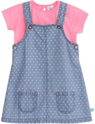 MINI KLUB Dungaree For Girls Printed Cotton(Blue, Pack of 2)