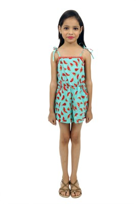 RIBBON N FRILL Romper For Girls Casual Printed Cotton(Green, Pack of 1)