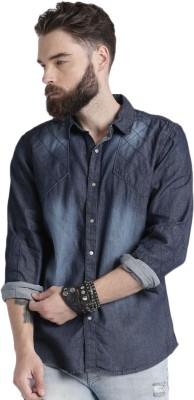 Roadster Men Solid Casual Blue Shirt at flipkart